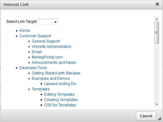 SiteApex Editor Internal Links Box
