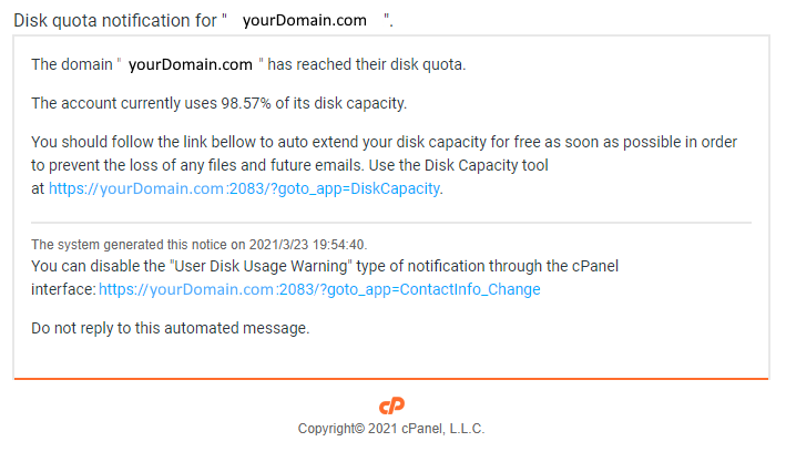 cPanel Phishing Email Example