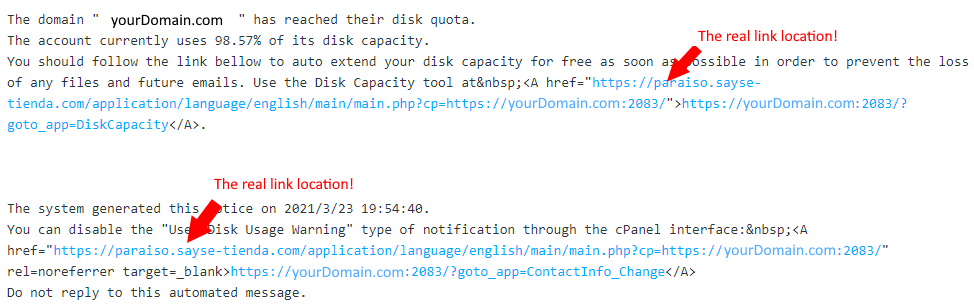 cPanel Phishing Email HTML View