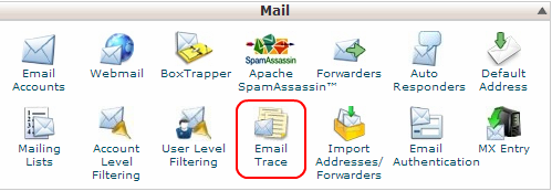 cPanel Email Trace Icon
