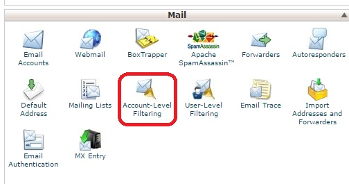 email account level filtering
