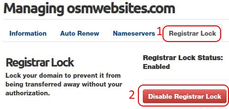 Domain Name Lock Unlock Button