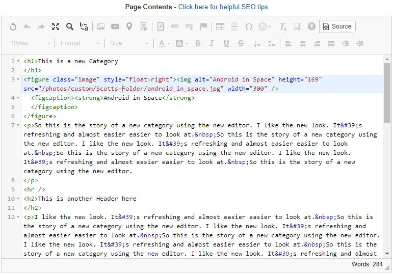 Viewing your content in HTML View | Page Editing | SiteApex